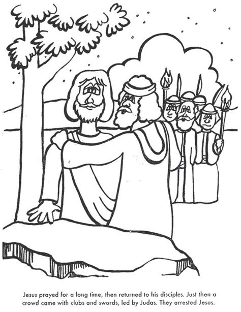 coloring page jesus arrested judas betrays jesus easter