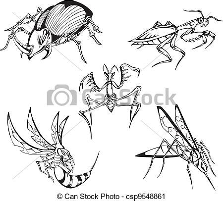 Dangerous insects. set of black and white vector ... Insect Drawings Clip Art