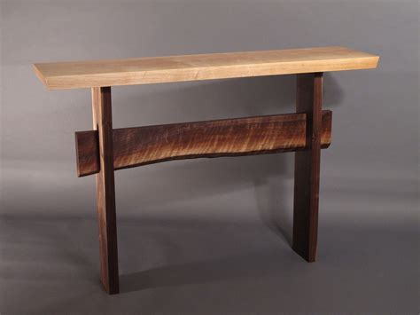 Live Edge Console Table Console Table W Live Edge Stretcher Minimalist Modern