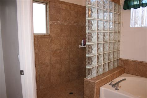 Glass Block Bathroom Ideas natural doorles shower design with rock wall and nice lamp
