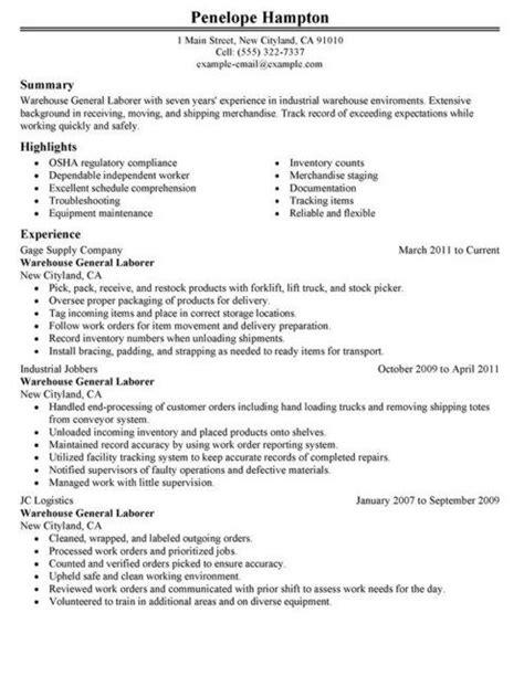 resume sle for general labor http topresume info