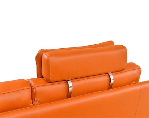 modern orange leather sectional sofa ef533 leather