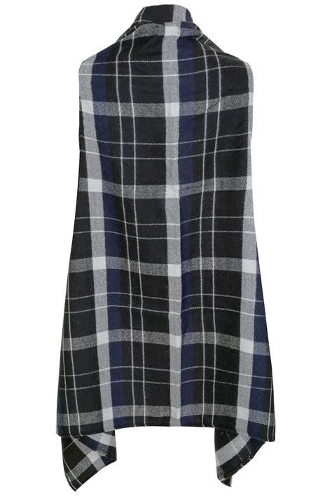 Kemeja Check Black Darkgrey black grey check sleeveless wrap plus size 16 to 32