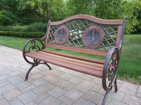 golf benches oakland living cast iron double golfer bench in antique