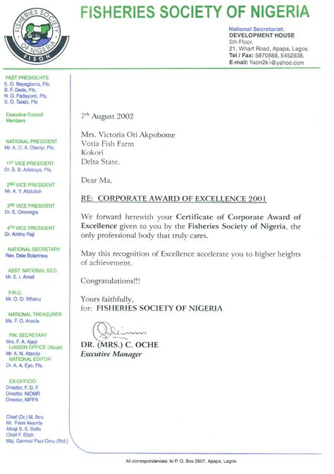 letter forwarding certificate of award of 2001 corporate award of excellence to oti