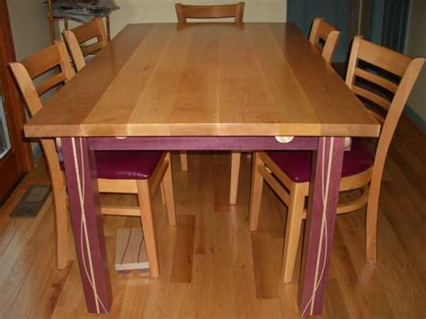 maple kitchen tables tiger maple purpleheart kitchen table woodworking plans how to