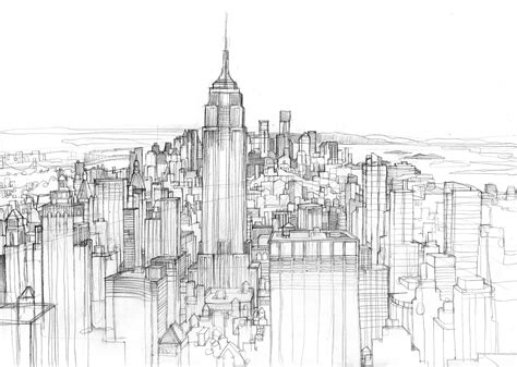 Sketches New York manhattan skyline sketch illustrated maps