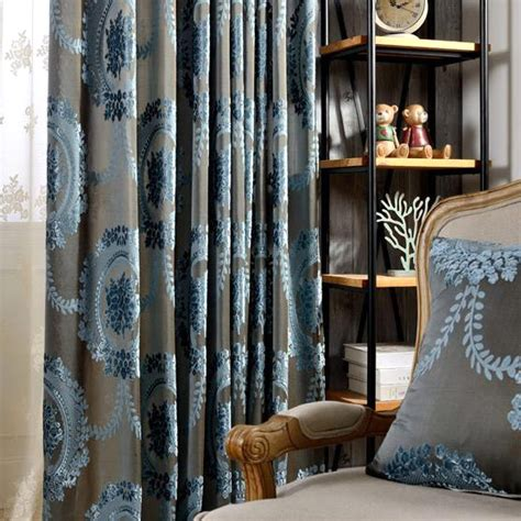 vintage curtains online best gray blue damask polyester vintage insulated curtains