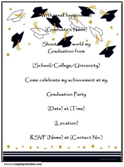 word templates for announcements graduation party invitation templates free printable