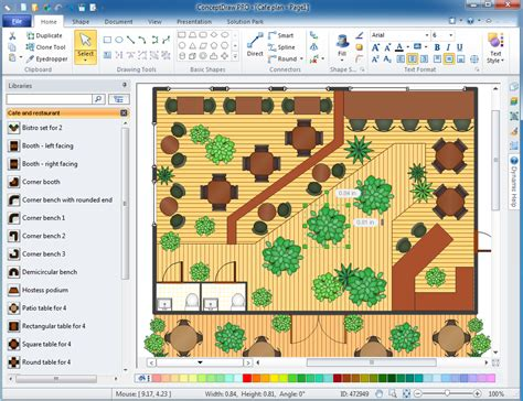 cafe layout design software cafe and restaurant floor plan solution conceptdraw com
