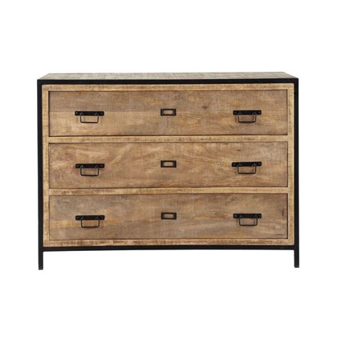 Solid mango wood and metal industrial drawer chest W 110cm