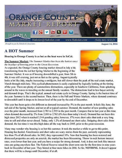 oc housing blog orange county housing report a hot summer