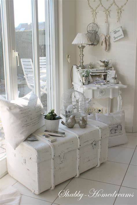 rustic shabby chic home decor cute corner with trunk and secretary desk whitewashed