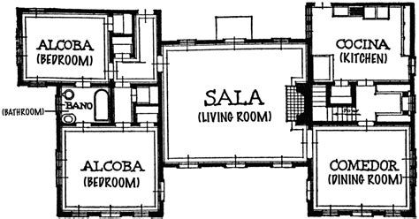 Center Courtyard House Plans by House Blueprint With Spanish Titles Clipart Etc