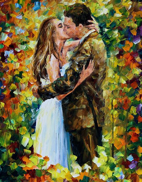 Home Decor Blogs Top kiss in the woods painting by leonid afremov