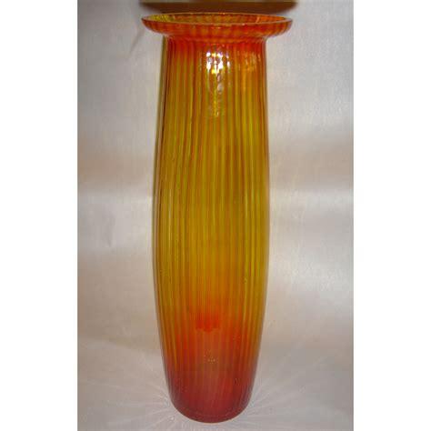 9 5 quot scandinavian yellow fluted glass vase ebay