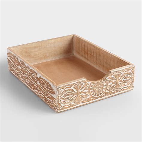 Paper Tray - carved wood paper tray world market