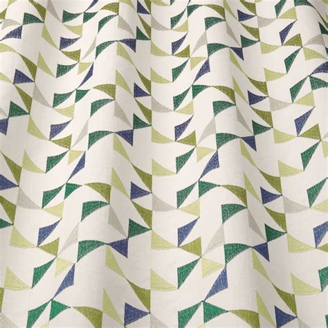 geometric curtain fabric uk iliv scandi collection prism emerald embroidered geometric