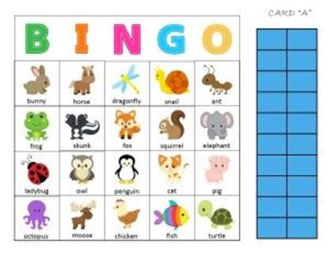 Preschool Bingo Card Template by Free Printable Animal Bingo Printable Preschool Activity