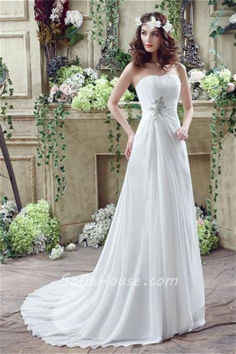 Garden Wedding Flower Dresses by A Line Strapless Corset Back Chiffon Draped Destination