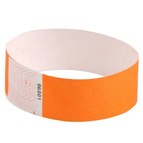 How To Make Paper Wristbands - 500 x 1 inch neon orange tyvek wristbands by freshtix