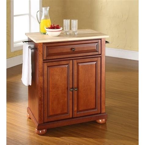 cherry wood kitchen island bowery hill wood top kitchen island in cherry bh