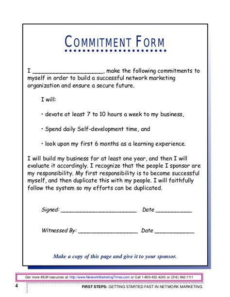 Commitment Letter To Myself getting started fast randy gage