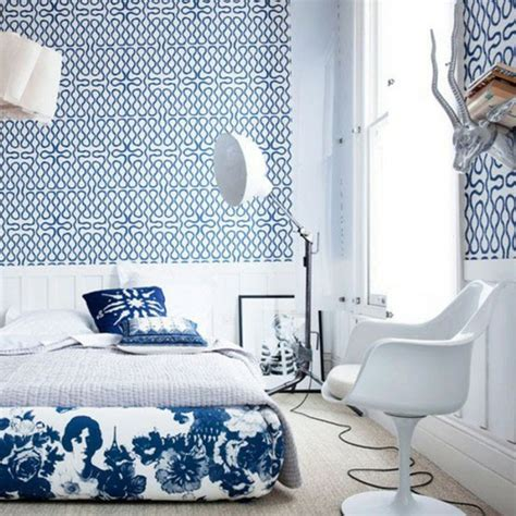 tapisserie graphique tapisserie chambre bleue tapisseries designs