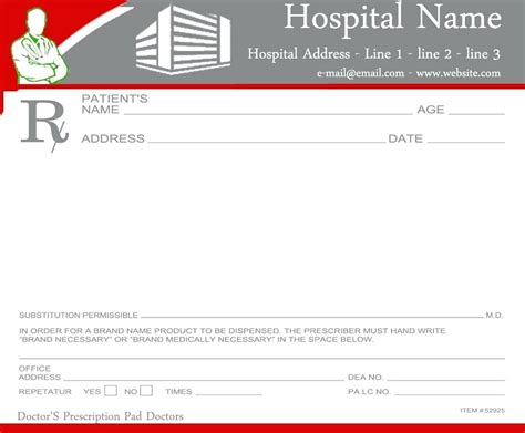 prescription pad template blank prescription pad template