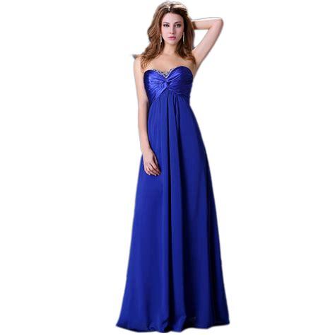 desain long dress elegan grace karin sexy strapless evening dress beaded royal blue