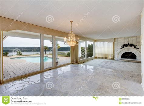 large luxury empty living room with white marble floor
