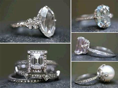 emerald cut diamond engagement ring and non diamond