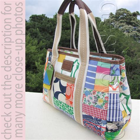 coach multicolor pattern various fabric patchwork tote