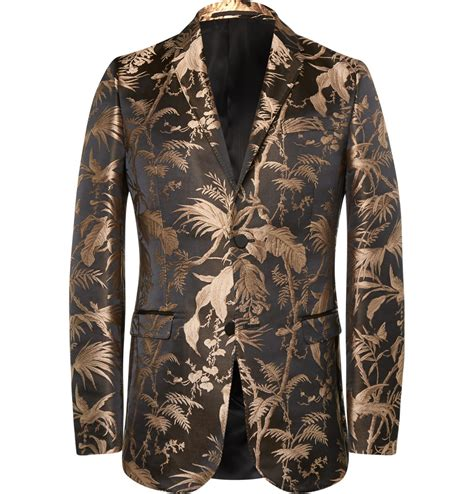 black jacquard pattern slim suit jacket gucci black and gold slim fit jacquard tuxedo jacket in