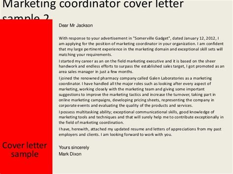 marketing coordinator cover letter exles marketing coordinator cover letter