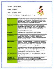 language arts lesson plan template language arts lesson plan sle