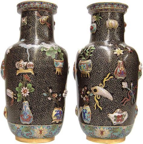 Reproduction Vases by Pair Of 12 Quot Antique Reproduction Cloisonne Vases Cl 341