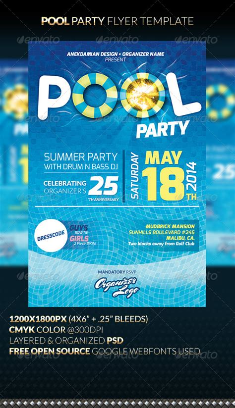 pool party flyer template  anekdamian graphicriver