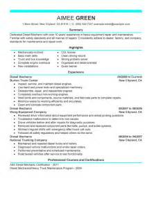 Diesel Mechanic Resume Objective by Best Diesel Mechanic Resume Exle Livecareer