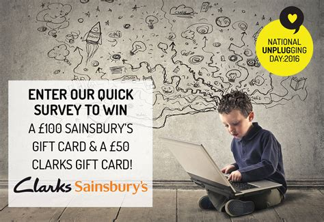 Sainsbury S Gift Card Balance - enter our tech usage survey to win a 163 100 sainsbury s gift card and a 163 50 clarks