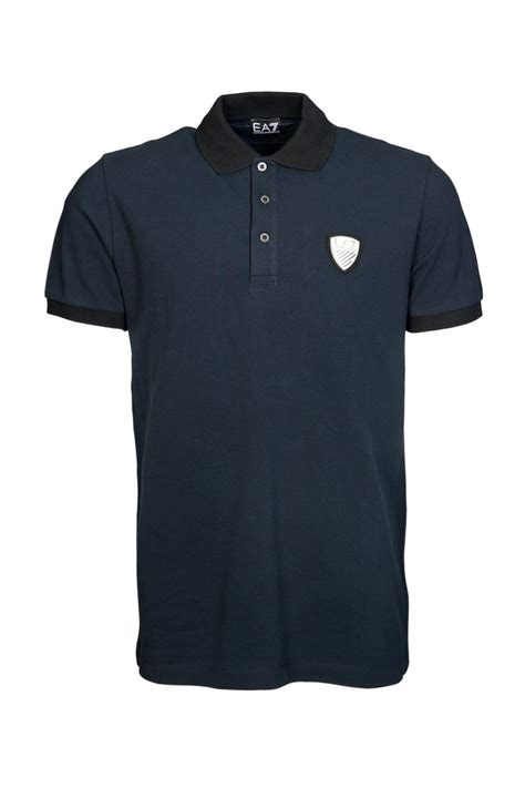 Polo Tshirt Ea7 emporio armani ea7 polo t shirt in black and navy blue