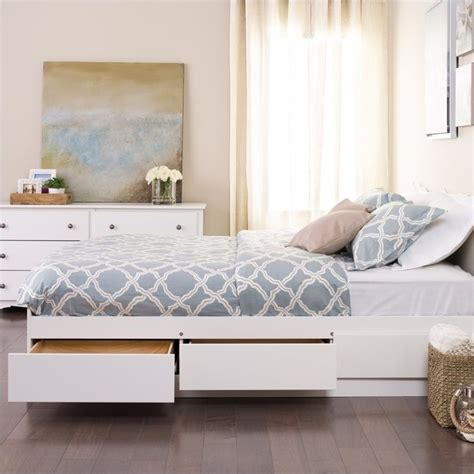 White Platform Bed With Storage White Platform Storage Bed Wbq 6200 3k