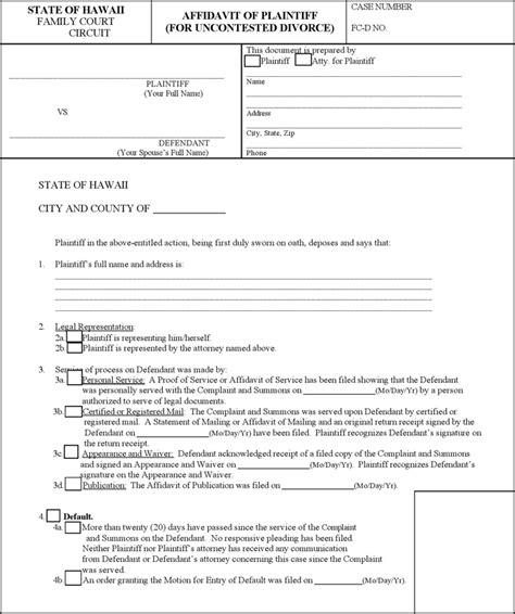 Free Hawaii Affidavit Of Plaintiff For Uncontested Divorce Form Pdf 78kb 5 Page S Separation Affidavit Template