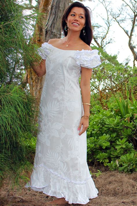Hawaiian Wedding Dresses by Wedding Flower Ruffle Shoulder Muumuu