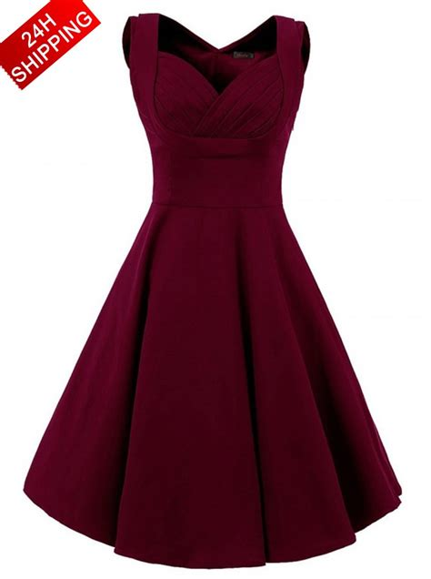 Fashion Simple Dress A31053 vintage style square neck knee length burgundy swing dress s dress us 38