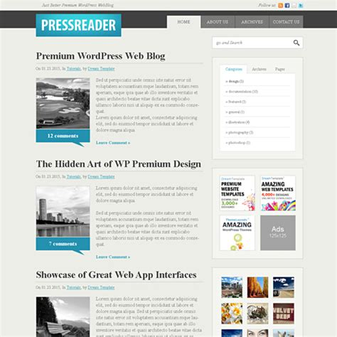 blog layout css pressreader webpage template web blog corporate