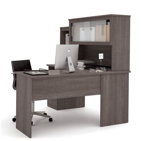 grey l shaped desk bestar dayton l shaped desk in bark gray 88420 47