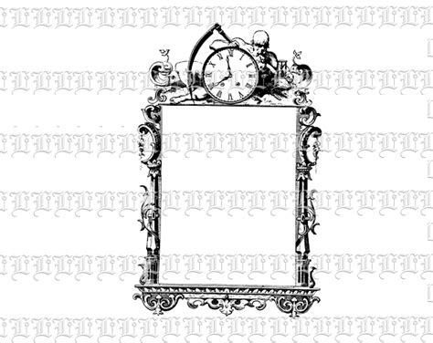 victorian border ornante frame death symbol vintage clip