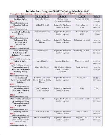 13 employee training schedule template free sle