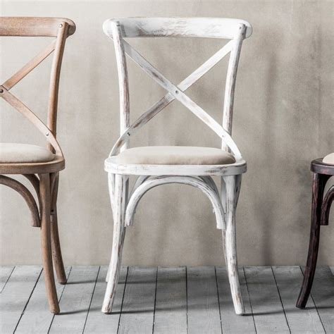 white shabby chic chairs cafe chair cross back bentwood dining chair with